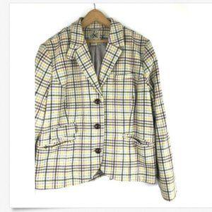 LL Bean Jacket 18 Womens Blazer Wool Blend Plaid